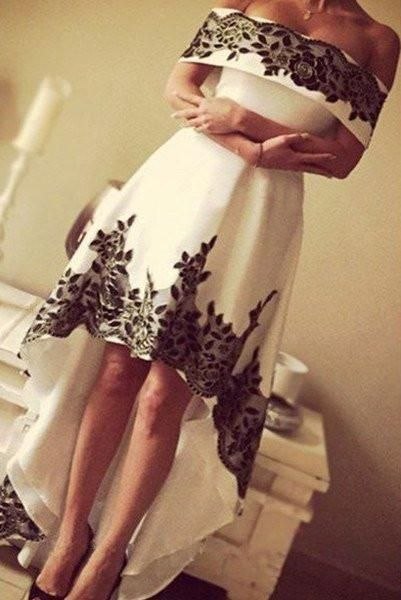 Gorgeous High Low Prom Dresses,Off-the-shoulder Prom Dress,Lace Formal Prom Gown,White And Black Prom Gown,Cheap Long Prom Dresses