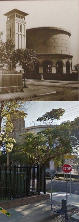 The Drummoyne Reservoir and Water Supply Tank, Rawson Avenue in 1912 and 2013. The tank was built by the Metropolitan Board of Water Supply and Sewerage in 1910. The tower was added in 1912 at the insistence of Sir Thomas Henley. The tower copied a similar one at Bellevue Hill that had been built for military purposes. The Bellevue Hill tower has since been demolished making the Drummoyne tower unique. [1912 - Canada Bay Connections/2013 - Google Street View. By Phil Harvey]