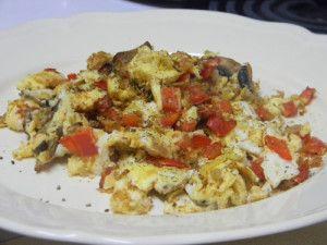 Scrambled Eggs with Sweet Pepper & Mushroom