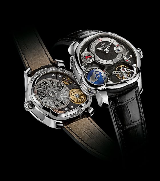 """Greubel Forsey describes its new Platinum GMT as """"much more than a watch"""" and """"a portable time map."""" All 24 of the major global time zones can be viewed in real time from the perspective of the North Pole, the point where they converge. While the Northern Hemisphere is visible on the dial side of the watch, the Southern Hemisphere can be seen through a lateral window in the side of the case."""