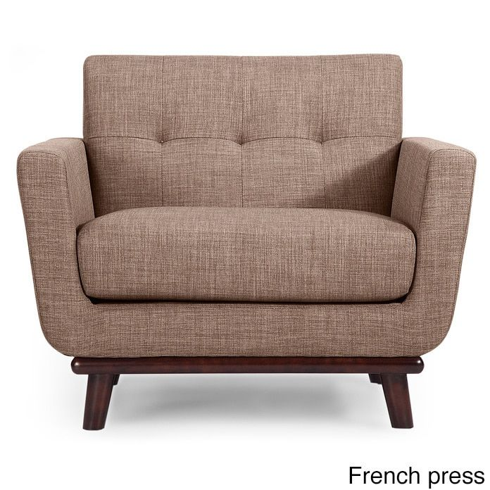 Kardiel Jackie Mid-Century Vintage Tailored Twill Modern Classic Chair (French Press Vintage Tailored Twill), Brown (Fabric)