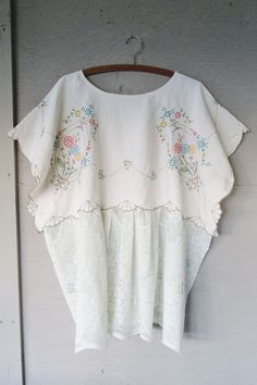 one size oversize upcycled Linen tunic top by lillienoradrygoods