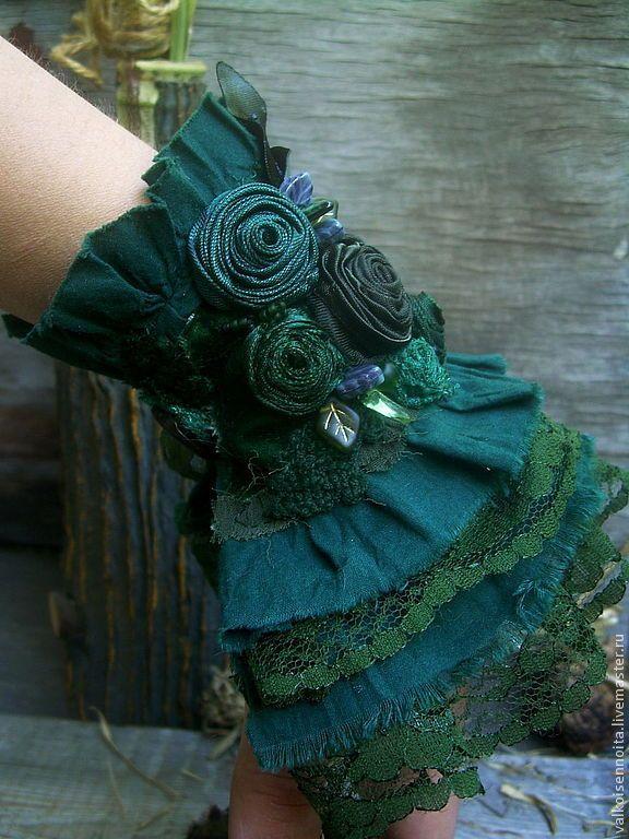 """Купить Текстильный бохо-браслет """" Forest moss"""" - браслет, бохо-браслет, текстильный браслет"""