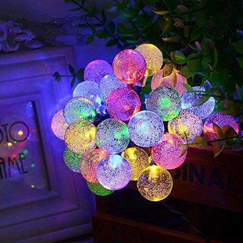 CrazySell Solaire énergie imperméable fées Guirlandes 6M 30 LED 2 modes Globe de cristal de Noël Lampe décorative pour extérieure, jardin,…