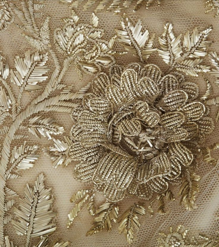 """Court train, First Empire From the Chateau de Malmaison Costume Collection app: The use of platinum metallic thread to decorate this train is an indication of its exceptional status. This embroidery includes horns of plenty and flowers in full bloom in relief, demonstrating the exceptional skill of the embroiderers who supplied the imperial court with the official costumes Napoleon demanded...."""""""