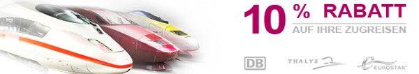 Bahnreisen billiger: 15 EUR Gutschein für alle Bahn ICE Thalys und Eurostar Zugreisen #urlaub #reisen