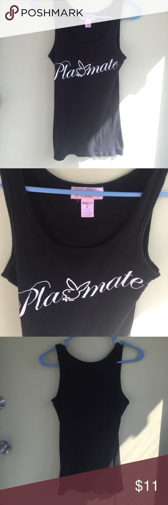 Playboy Playmate Bunny black ribbed tank Official PLAYBOY PLAYMATE clothing. this black ribbed tank is super cute, comfortable and stretchy. can be worn with jeans, casually or to sleep. only been worn a few times, in like new condition.  SIZE MEDIUM  tags: #playboy #playmate #hughhefner #bunny #playboybunny #ribbed #black #wifebeater #comfortable #pajama #intimate #cute #casual #likenew #euc Tops Tank Tops