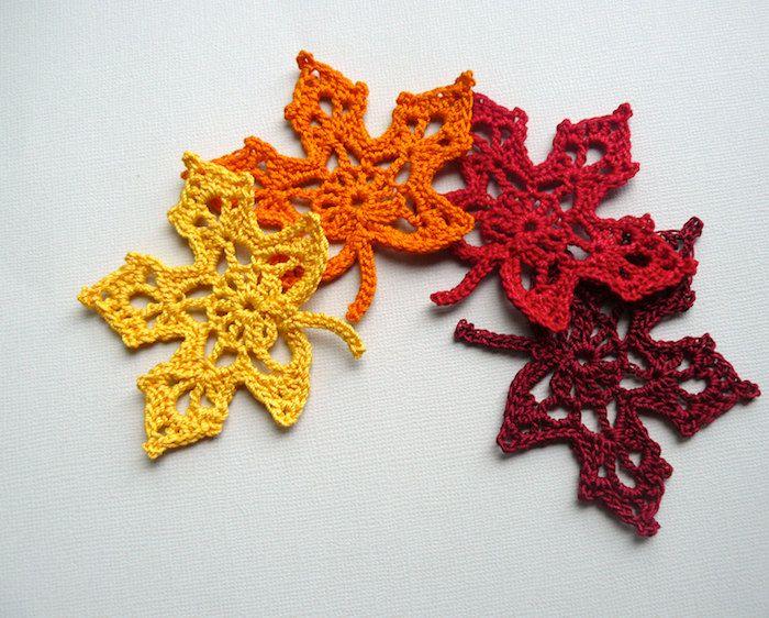 4 Crochet Leaf Appliques -- Wine Red Maple Leaves. via Etsy.