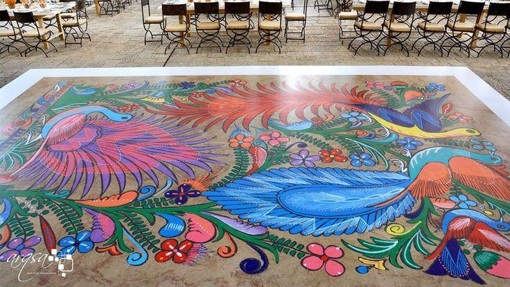 pista de baile con dibujo Oaxaqueno