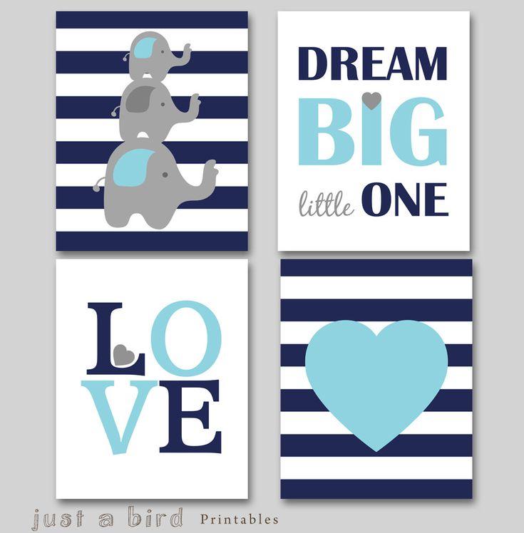 Dream big little one, Set of 4 prints, Elephant wall art, navy blue nursery decor, baby boy nursery art -INSTANT DOWNLOAD by Justabirdprintables on Etsy