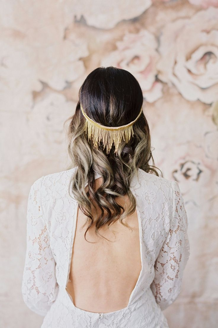 2. If you're more of a trendsetting bride then check out this gold beaded fringe halo from danani. The fun fringe adds an unexpected stylish vibe and best of all, you can reuse it long after the I dos. Shop Nowdanani