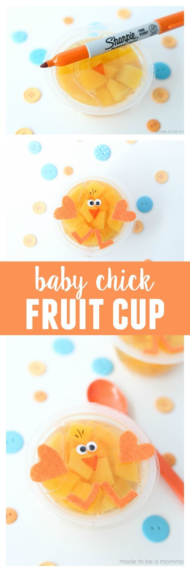 Baby Chick Fruit Cup  a fun spring idea for the kids to take in there lunch boxes or enjoy at home