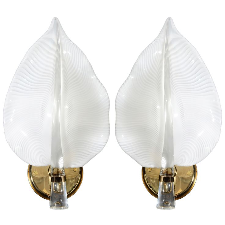 32 best 20th century wall lights sconces images on pinterest pair of elegant white murano glass leaf sconces mozeypictures Gallery