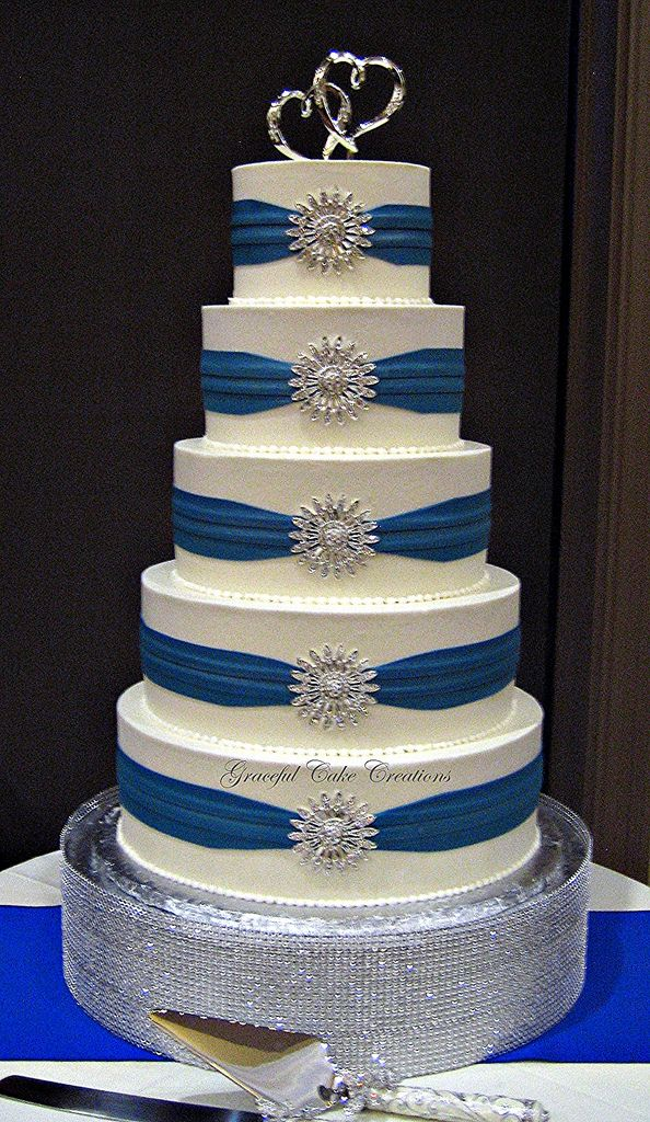 Blue and Silver Wedding Cakes | ... Buttercream Wedding Cake with Royal Blue Sashes and Silver Brooches