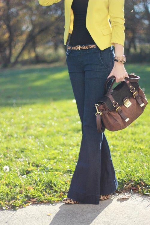 denim trouser pants, leopard belt, black shirt, mustard cardigan, leopard flats, brown/black tote