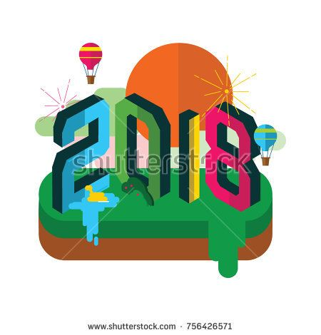 Happy New year 2018 Vector Design with flat design Illustration