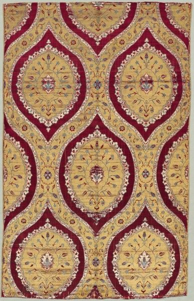Brocaded Silk with Blossoms, 1550-1575 Turkey, Bursa or Istanbul, Ottoman period, 16th century  silk, metal thread; lampas weave, Average - h:109.20 w:66.70 cm (h:42 15/16 w:26 1/4 inches). Purchase from the J. H. Wade Fund 1946.419 Location:  Gallery 115