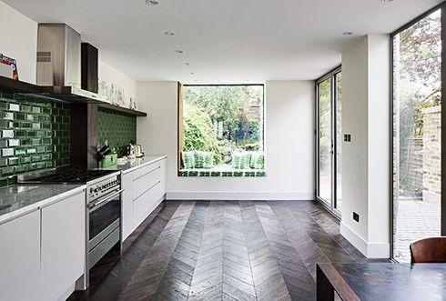 gray and white herringbone tile floors | Herringbone floors and green tile backsplash.....so perfect by skrawki