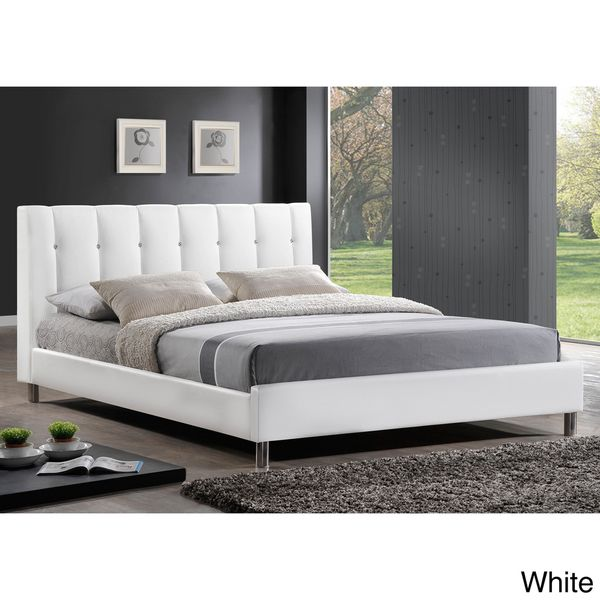 baxton studio vino modern queensize bed with upholstered headboard