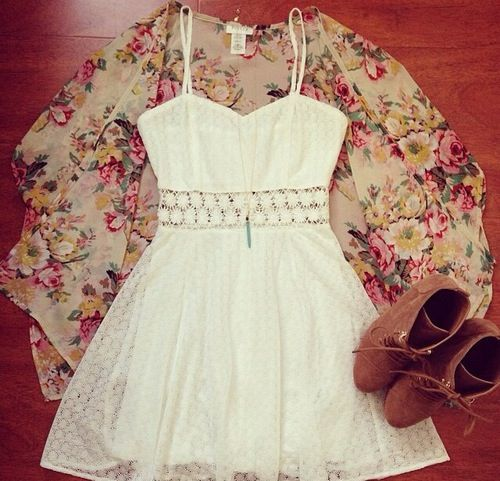 Love this outfit - kimono - white dress - ankle boots find more women fashion ideas on www.misspool.com