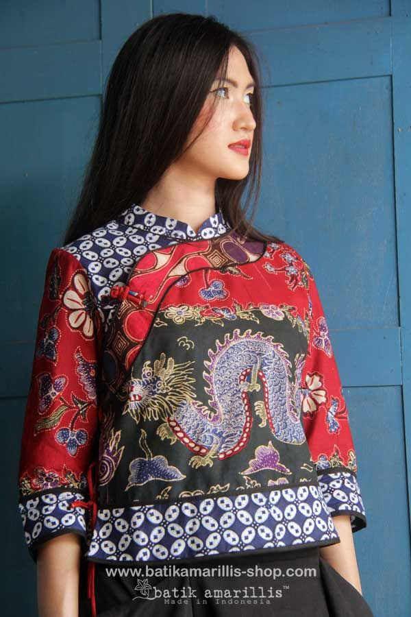Batik Amarillis' Joyluck 2014  in Batik Banyumas-Indonesia   AVAILABLE at Batik Amarillis webstore www.batikamarilli...  ...A Timeless piece with exquisite detailing such as color combos, handmade chinese frog button, fittingly beautiful with the ideal combination of comfort & style