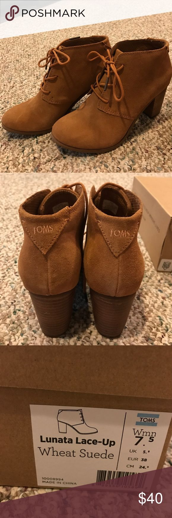 TOMS Lunata Lace-up Wheat Suede Booties 7.5M ⚡️PRICE FIRM⚡️ Wore just once! A little too big for me. TOMS Shoes Ankle Boots & Booties