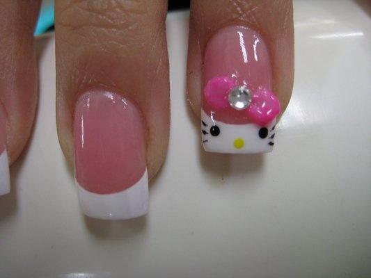 hello kitty gel tip nail design