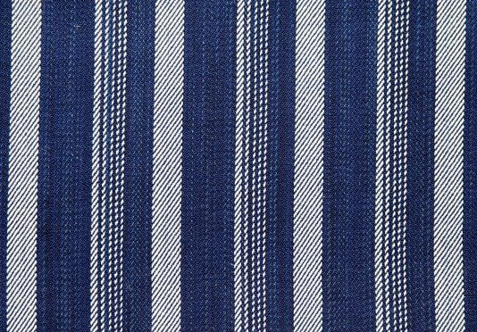 Madron Striped Cotton Upholstery Fabric Heavy weight cotton and wool mix striped fabric in rich blue with cream stripe. Suitable for curtains and domestic upholstery.