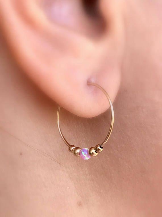 Pink Opal Earrings Gold Hoop Earrings Opal Earrings Hoop
