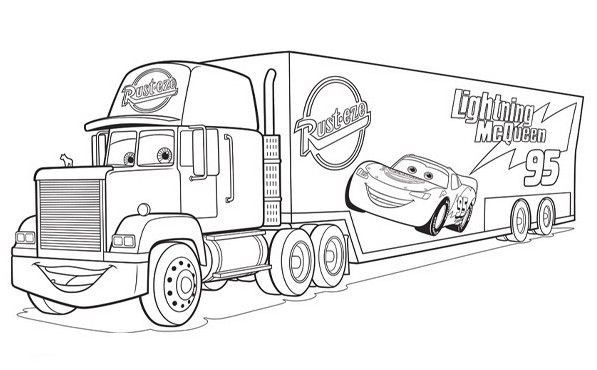 Cars Mack Truck Coloring Page Truck Coloring Pages Cars Coloring Pages Disney Coloring Pages