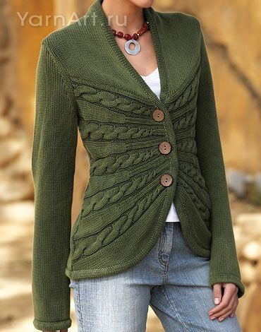 Love the use of cables here to great waist shaping! http://www.ravelry.com/patterns/library/sunburst-cable-cardigan is a similar pattern