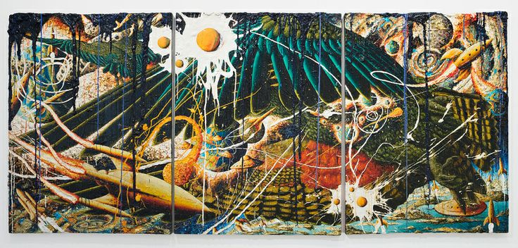 Geoff Dixon Kea/No head for heights  oil and acrylic on canvas  1200 x 2800 mm  2012