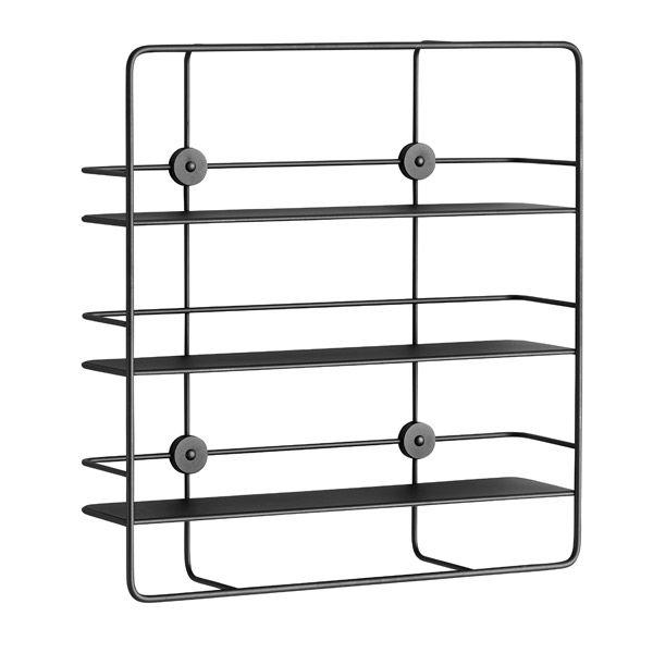 Coupé rectangular shelf, black, by Woud. Design by Poiat.