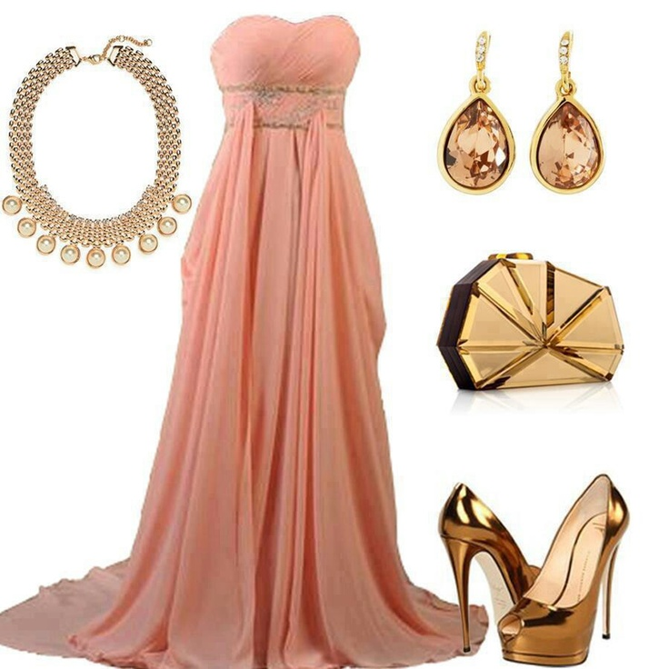Coral evening gown with bronze jewelry is it pink for Jewelry to wear with coral dress