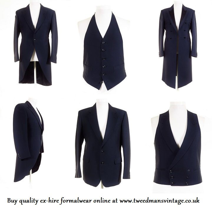 Navy wedding suits for the groom & groomsmen. Quality ex-hire wedding suits in all colours for sale at Tweedmans Vintage.