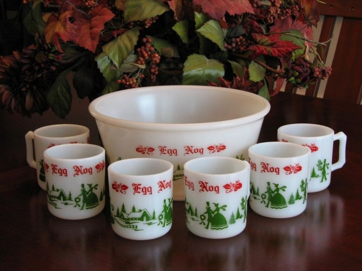 vintage anchor hocking egg nog set: Vintage Anchors, Anchors Hock, Vintage Christmas, Christmas Eggs, Eggs Nog, Christmas China, Hock Eggs, Merry Christmas, Happy Girls