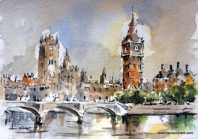 LAURA CLIMENT.  London Parlamient. (Watercolor).