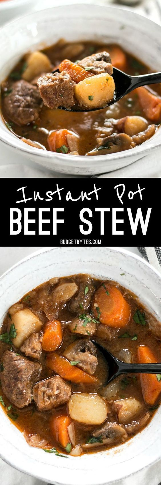 This Instant Pot Beef Stew is incredibly fast and easy, but is packed with slow-cooked flavor. @budgetbytes