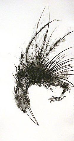 'Walla Walla Crow' (1996) by American artist & printmaker Frank Boyden. Drypoint, 22.25 x 10.375 in. via Davidson Galleries