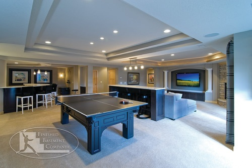 Basement Family Room - contemporary - basement - minneapolis - Finished Basement Company