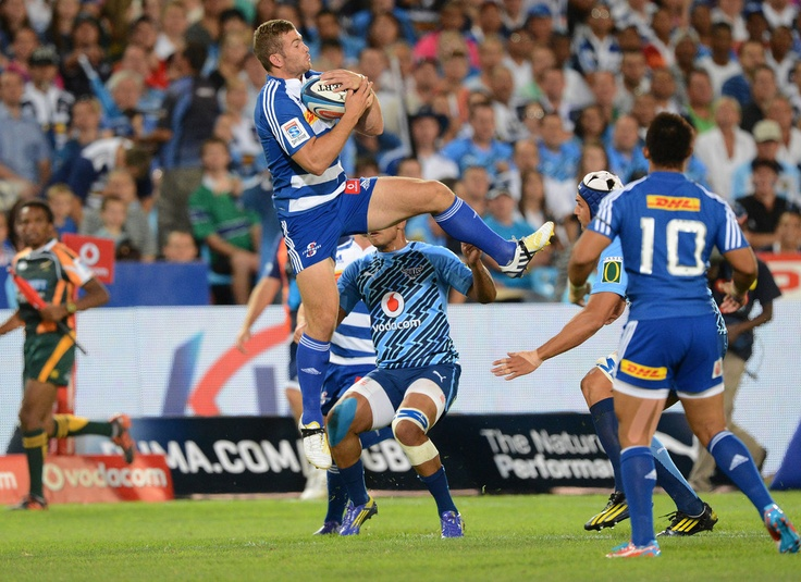 Jaco Taute of the Stormers wins the high ball during the Super Rugby match between Vodacom Bulls and DHL Stormers from Loftus Versfeld Stadium on February 22, 2013 in Pretoria, South Africa.