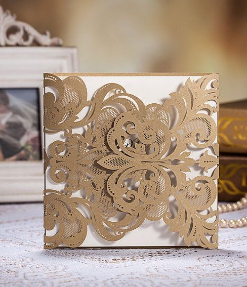 50 pcs vintage golden color laser cut wedding invitation cards with envelopes and seals ship worldwide days set of 50 pcs by on etsy