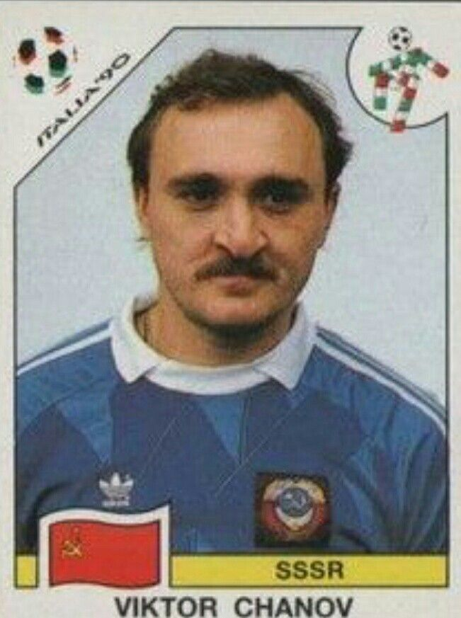 Viktor Chanov of USSR. 1990 World Cup Finals card.
