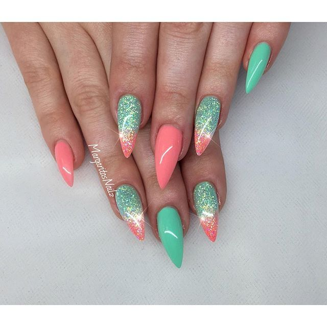 Mint and coral stiletto nails spring nail art