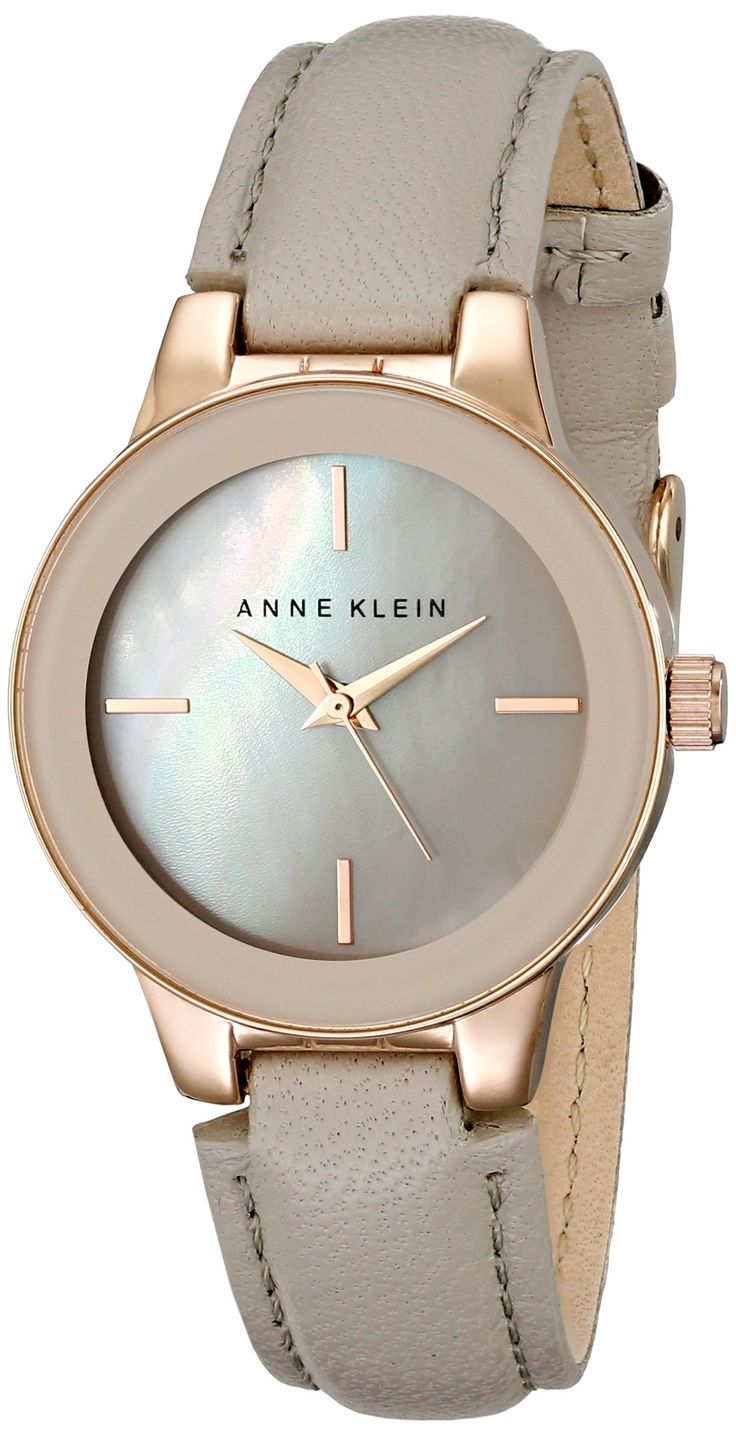 Amazon.com: Anne Klein Women's AK/2032RGTP Rose Gold-Tone and Taupe Leather Strap Watch: Watches