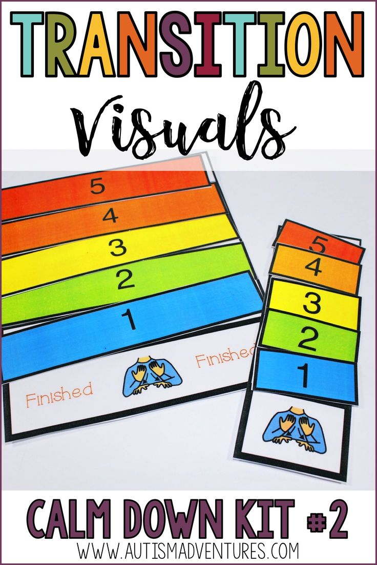 Behavior management Calm Down Kit for special education classroom management. Transition visuals
