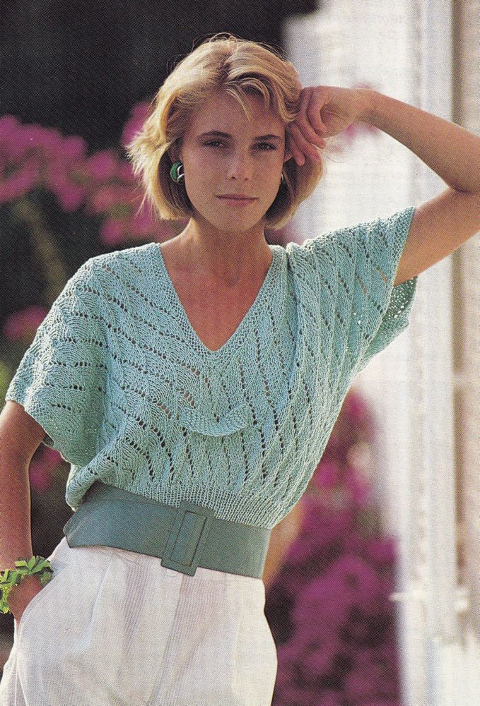 Knitting Pattern Ladies V Neck Jumper : Vintage Knitting Pattern Instructions for Ladies V-Neck Spring Jumper Top L...