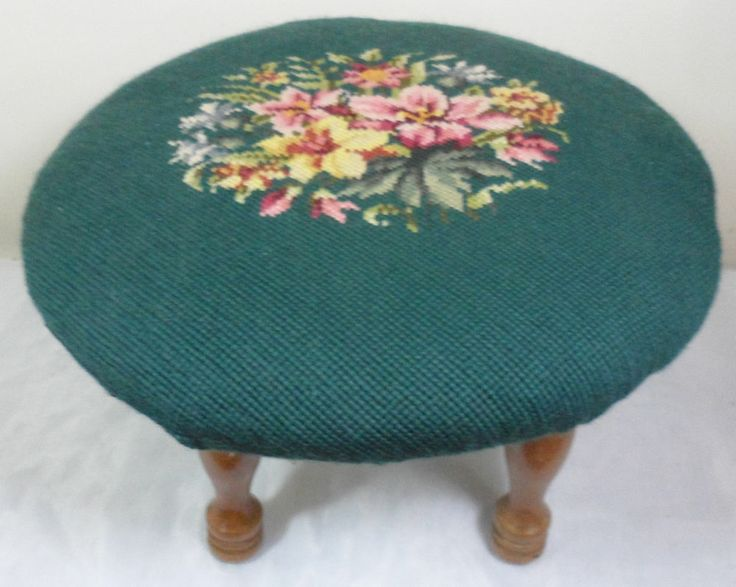 Antique VTG Victorian Embroidered Needlepoint Shabby Floral Foot Stool Ottoman