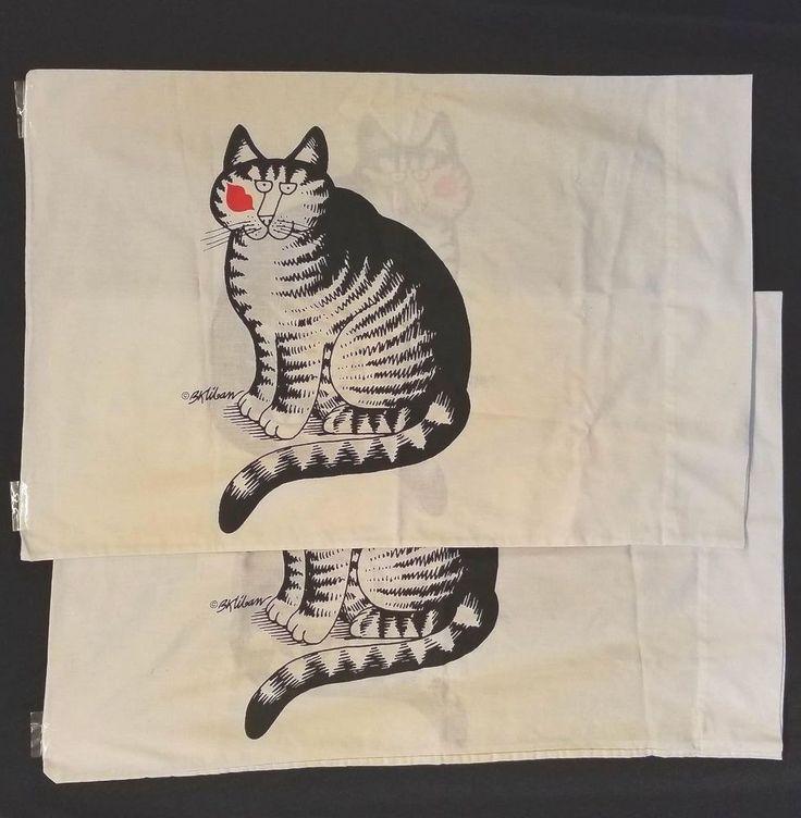 2 Vtg Kitty Cat Cartoon Pillow Case Lot Pair B. Kliban Love A Cat Kiss Standard