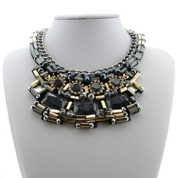 Chic Black Faux Gem Bohemian Style Women's Necklace #CLICK! #clothing, #shoes, #jewelry, #women, #men, #hats, #watches
